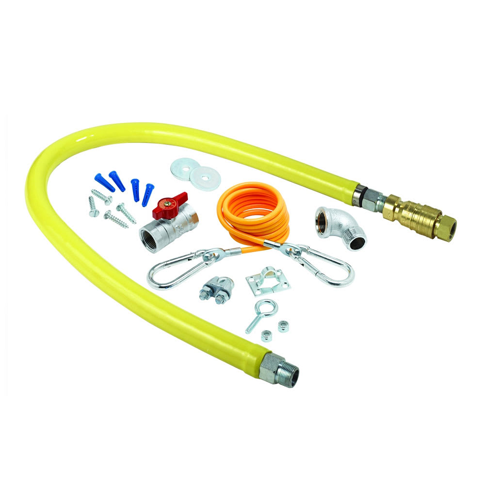 """T&S HG-4D-36K 36"""" Gas Connector Hose w/ 3/4"""" Male/Male Couplings, Includes Installation Kit"""