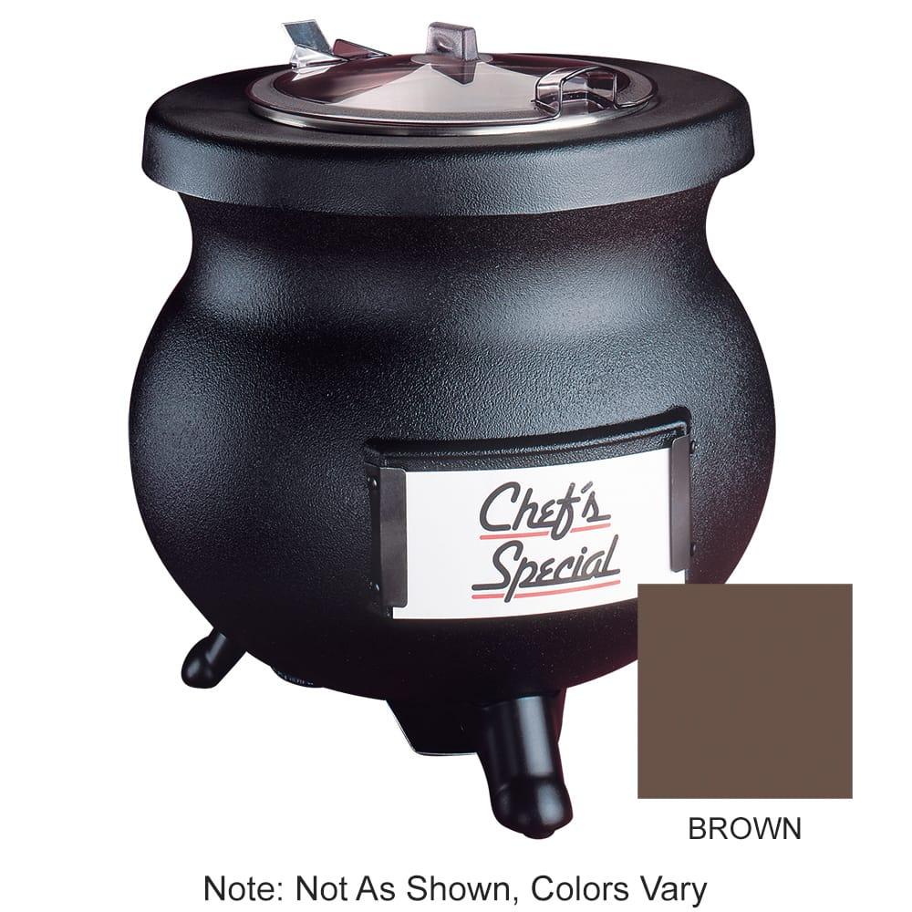 Tomlinson 1006846 BRN 8-qt Deluxe Frontier Soup Kettle w/ Transport Collar, Brown, 120 V