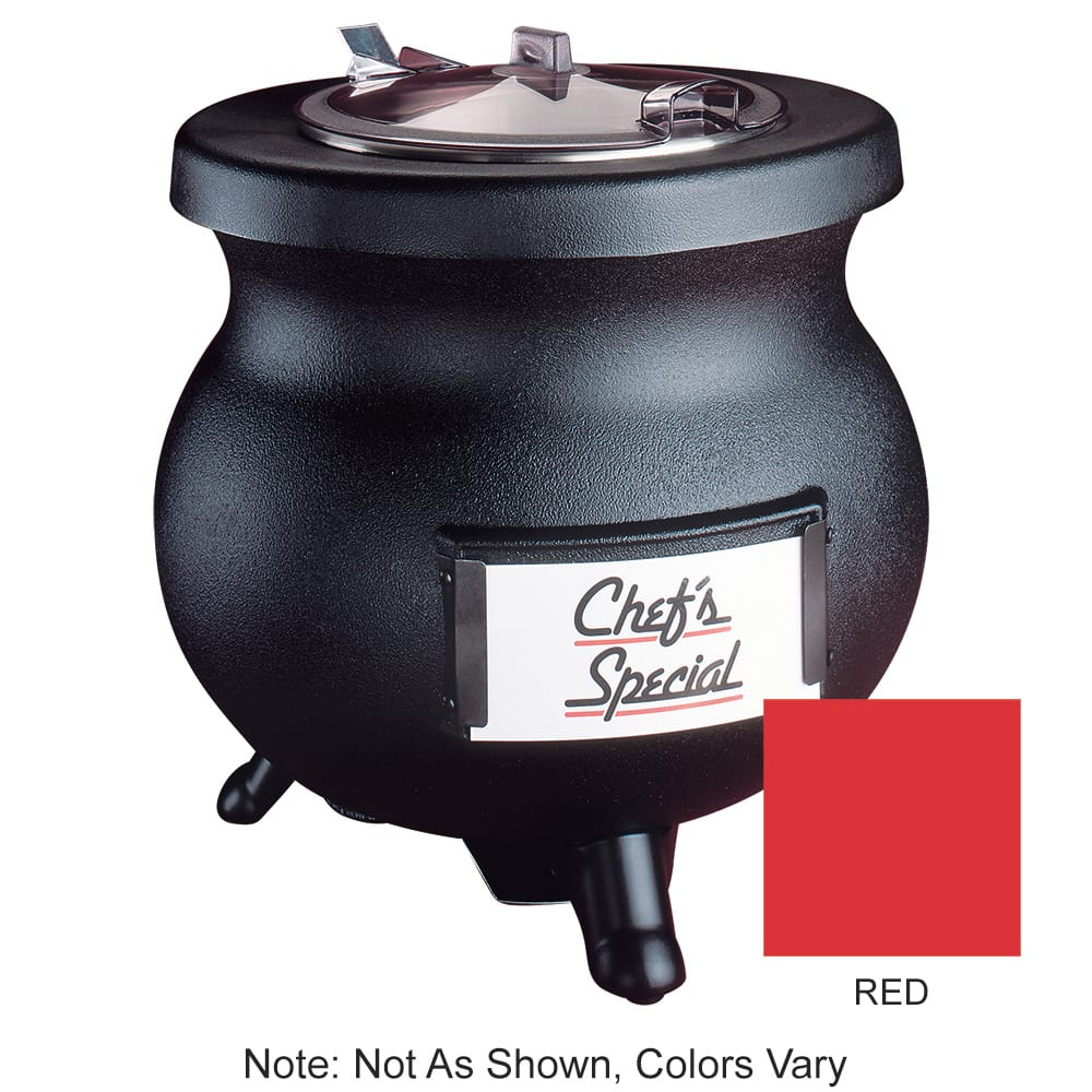 Tomlinson 1006856 RED 12-qt Deluxe Frontier Soup Kettle w/ Stainless Inset, Red, 120 V