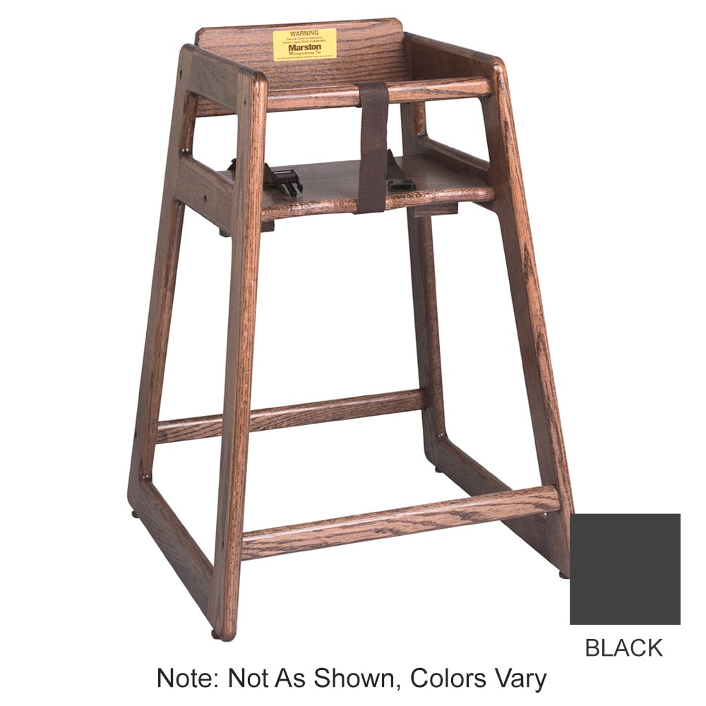 "Tomlinson 1016298 29"" Stackable High Chair w/ Waist Strap - Wood, Black"