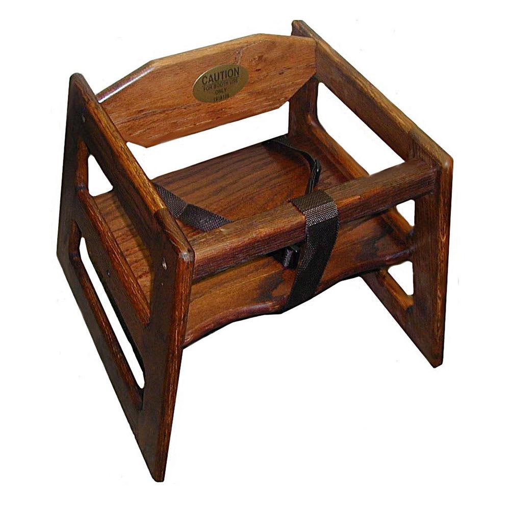 Tomlinson 1017826 Single-Height Booster Seat w/ Waist Strap - Wood, Walnut