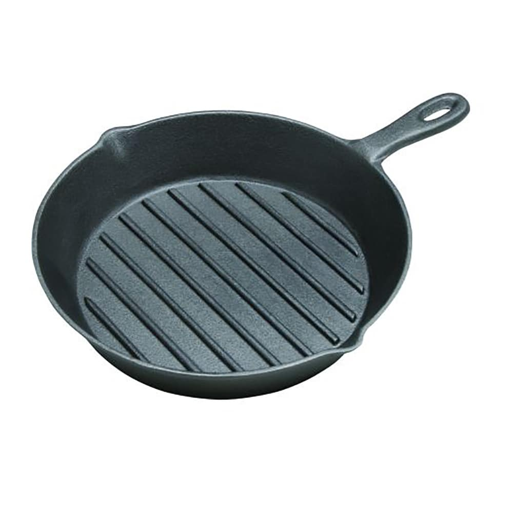 "Tomlinson 1024972 Cast Iron Ribbed 2"" D Grill Pan w/ Handle, 11-1/4"" Diam."