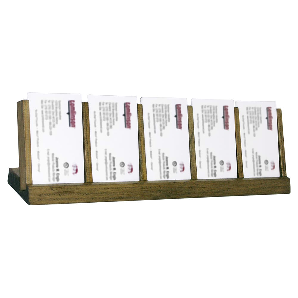 Tomlinson 1020054 5-Compartment Business Card Holder, Walnut