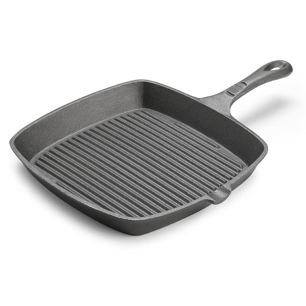 "Tomlinson 1023000 Preseasoned Square Cast Iron Skillet, 9 1/2"", Ribbed"