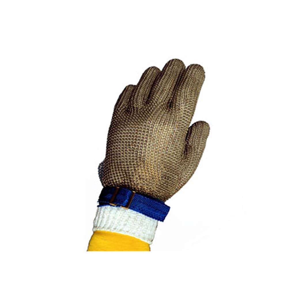 Tomlinson 1036474 Full Hand Metal Mesh Glove, 304L Stainless, Nylon Strap, Large