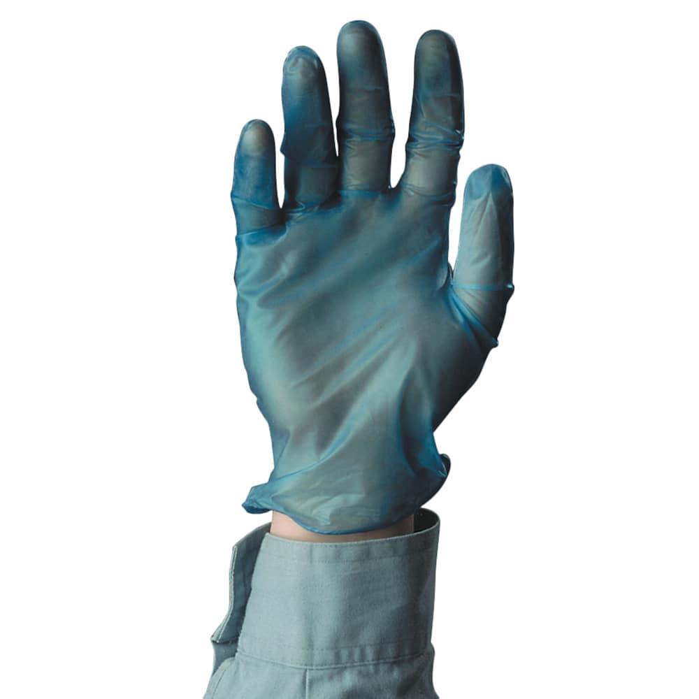Tomlinson 1036710 Powdered Blue Disposable Food Service Glove, Vinyl, Small