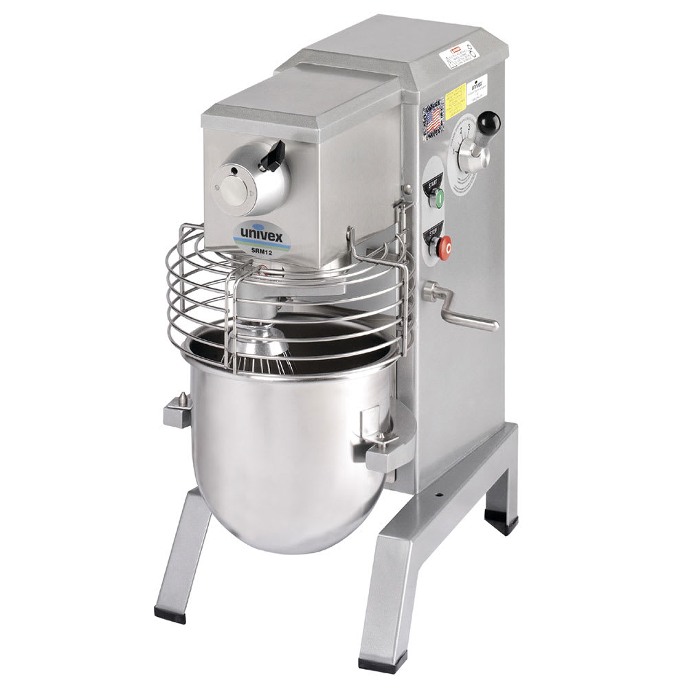 Univex SRM12 12 Qt Planetary Mixer w/ SS Bowl, Beater, Wire Whip, Safety Guard, 115v