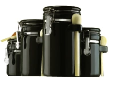 Anchor 03804BMR 4-Piece Ceramic Canister Set w/ Wood Spoon & Clamp Top Lid, Black