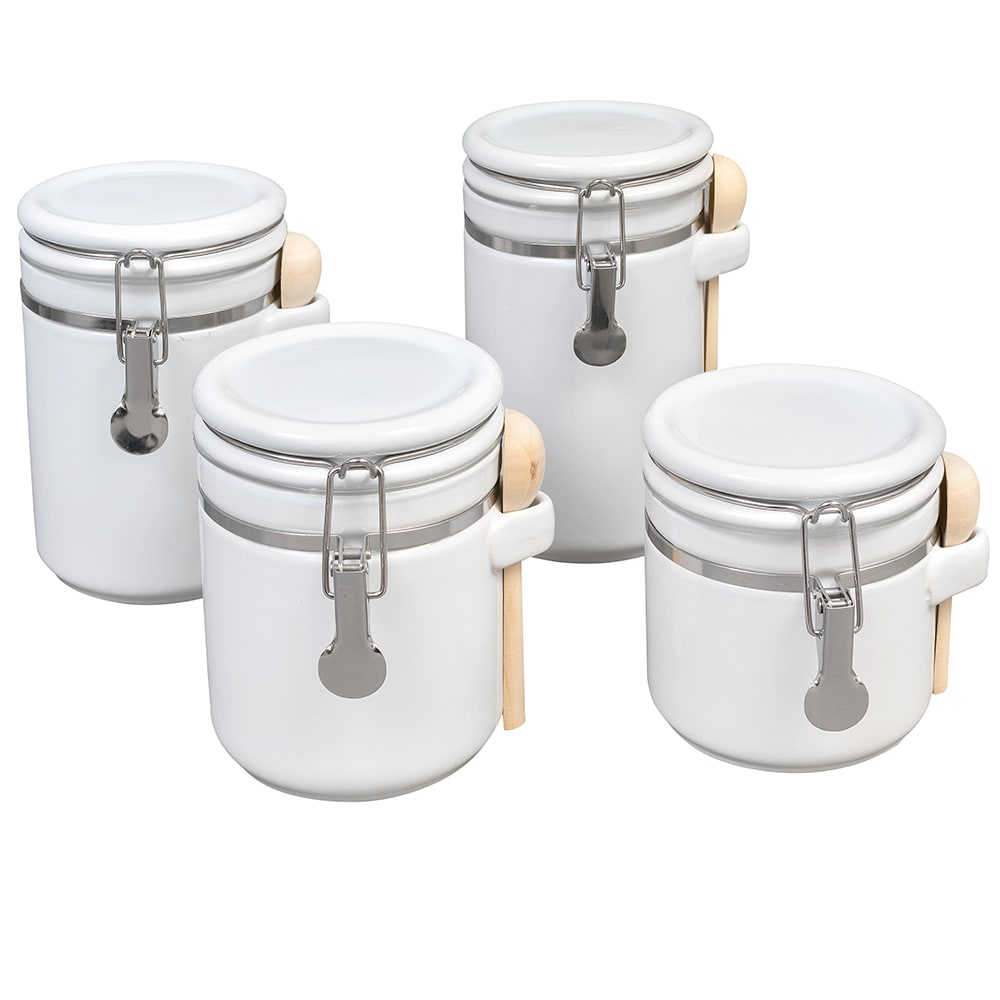 Anchor 03806WMR 4 Piece Ceramic Canister Set w/ Wood Spoon & Clamp Top Lid, White