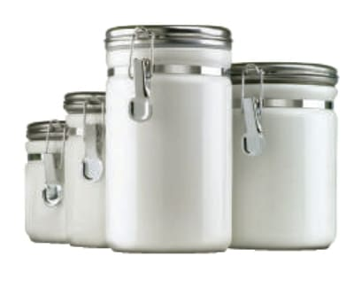 Anchor 03922MR 4 Piece Ceramic Canister Set w/ Wood Spoon & Chrome Top Lid, White