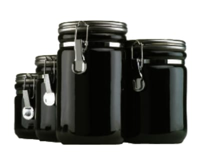 Anchor 03923MR 4 Piece Ceramic Canister Set w/ Wood Spoon & Chrome Top Lid, Black
