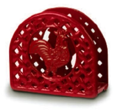 Anchor 21571XRD Napkin Holder w/ Rooster Design, Cast Iron, Red