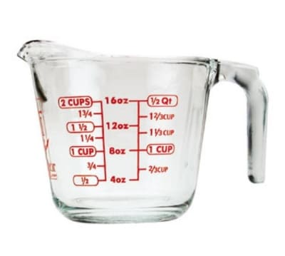 Anchor 55177OL11 16-oz Open Handled Measuring Cup w/ Red Lettering