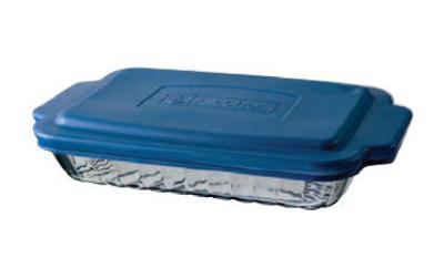 Anchor 81662OBL5 2-qt Sculpted Baking Dish w/ Blue Plastic Lid