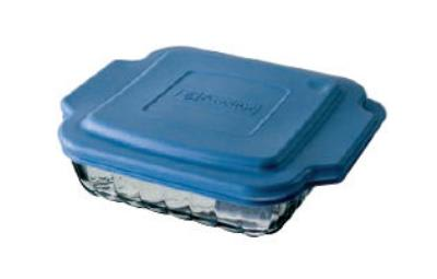"""Anchor 81665OBL5 8"""" Square Sculpted Baking Dish w/ Blue Plastic Lid"""