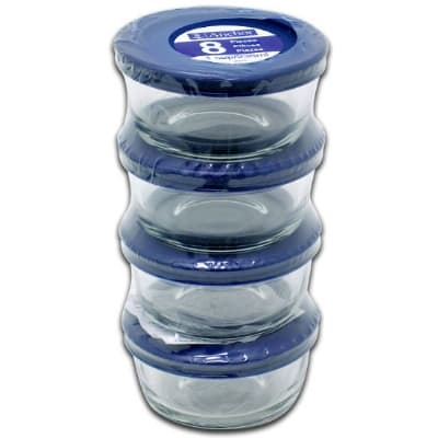 Anchor 82628L11 8 Piece Round Kitchen Storage Containers w/ 1 Cup Capacity & Blue Plastic Lids