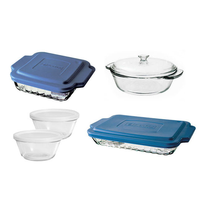 Anchor 82642OBL11 10 Piece Bakeware Set w/ Baking Dish, Casserole, Cake Dish, 2 Custard Cups, Lids