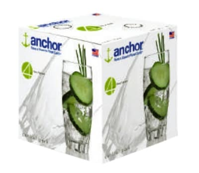 Anchor 84603L8 16-Large Central Park Tumblers w/ 17-oz Capacity, Crystal