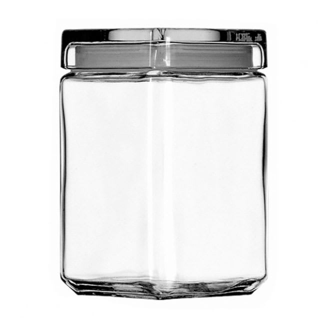 Anchor 85588R Stackable Square Storage Jar, 1 1/2 qt., Glass Lid