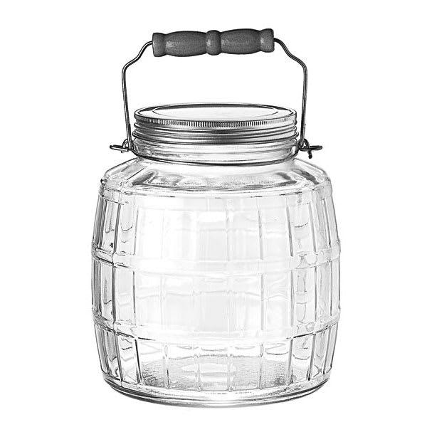 Anchor 85728 1 gal Square Barrel Jar w/ Handle & Brushed Aluminum Lid