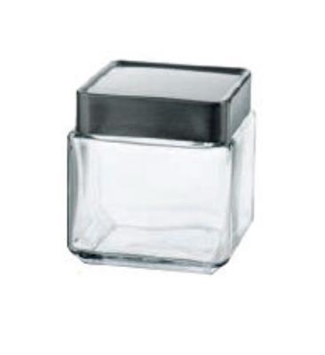 Anchor 85753 1-qt Square Stackable Jar w/ Brushed Aluminum Lid