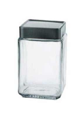 Anchor 85754 1.5-qt Square Stackable Jar w/ Brushed Aluminum Lid