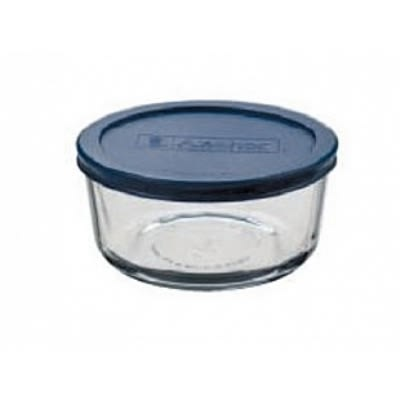 Anchor 85906L11 2-Cup Round Kitchen Storage Container w/ Blue Plastic Lid, Glass