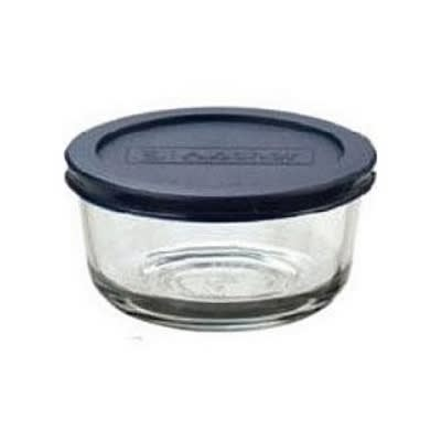 Anchor 85907L11 4-Cup Round Kitchen Storage Container w/ Blue Plastic Lid, Glass