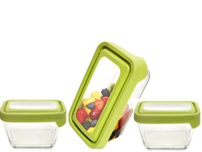 Anchor 91073 TrueSeal Rectangular Storage Set w/ (2)1.88-cup, 4.75-cup Containers & Green Lids