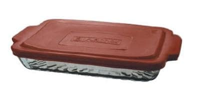 Anchor 91555OBL11 3-qt Sculpted Bake Dish w/ Red Plastic Lid