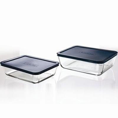 Anchor 92012L5 Rectangular Kitchen Storage Set w/ 6-cup & 11-cup & Blue Plastic Lids
