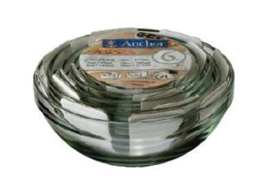 Anchor 92025L6 Mixing Bowl Set w/ 1 oz, 2 oz, 4 oz, 6 oz, 10 oz & 16 oz Bowls, Glass