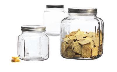 Anchor 95705 Cracker Jar Set w/ 32-oz Jar, 2-qt Jar, 1-gal Jar & Brushed Aluminum Lids
