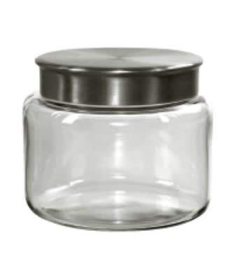 Anchor 95747 48-oz Mini Modern Montana Jar w/ Brushed Aluminum Metal Cover, Crystal