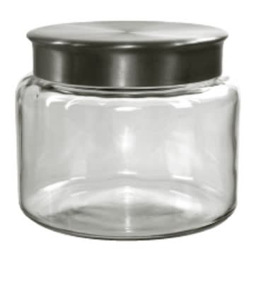 Anchor 95748 64-oz Mini Modern Montana Jar w/ Brushed Aluminum Metal Cover, Crystal