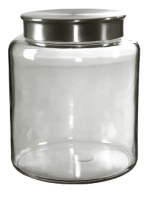 Anchor 95751 2-gal Mini Modern Montana Jar w/ Brushed Aluminum Metal Cover, Crystal
