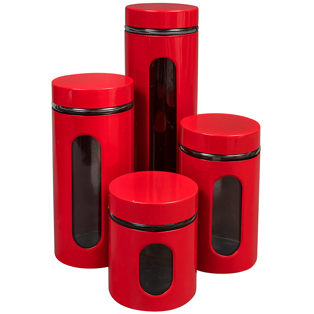 Anchor 97561 4 Piece Round Canister Set w/ Glass Viewing Windows - Stainless Steel, Cherry Red