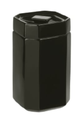 Anchor 98973 Stackable Octagon Canister w/ Lid & 5x5x8-in, Ceramic, Black