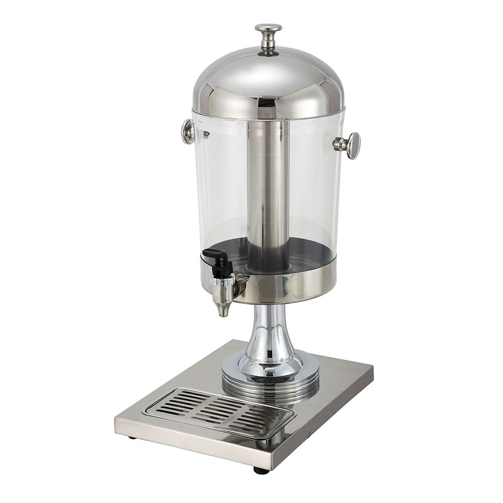 Winco 902 7.5-qt Juice Dispenser w/ Ice Chamber & Drip Tray, Stainless