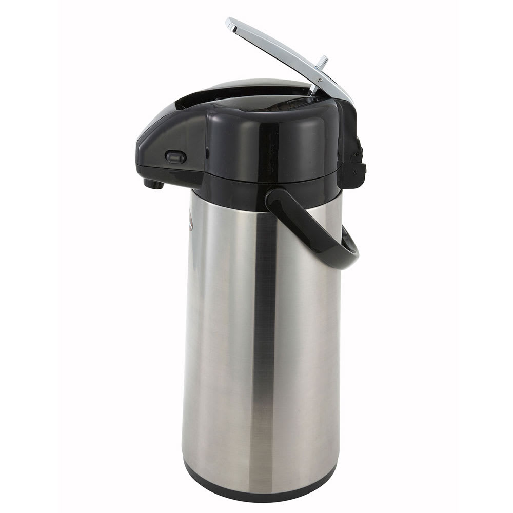 Winco AP-822 2.2 L Vacuum Server w/ Glass Liner & Lever-Top, Stainless Steel Body