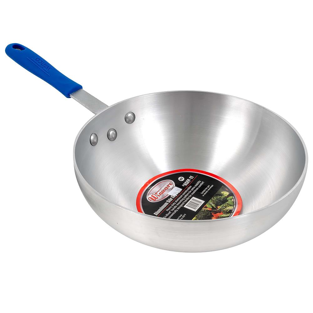 """Winco ASFP-11 11"""" Aluminum Stir Fry Pan"""