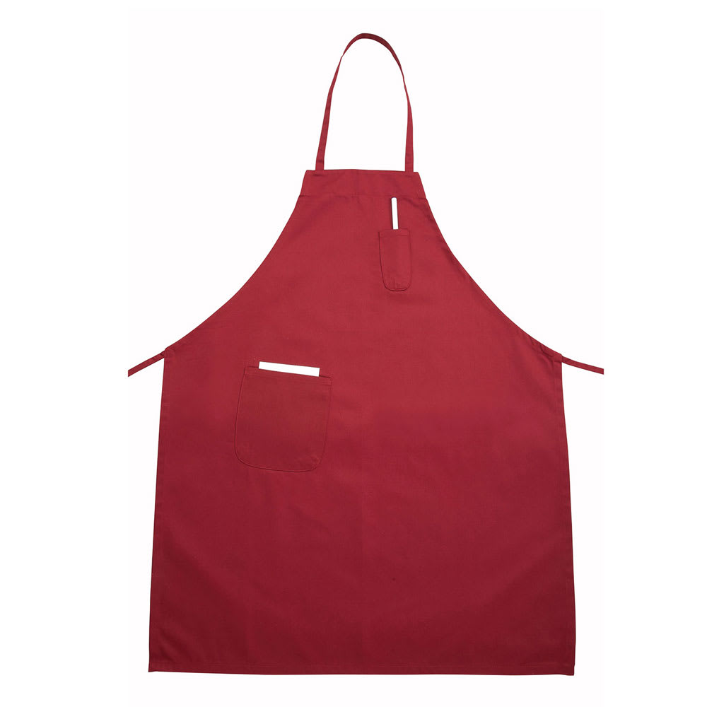 Winco BA-PBG Bib Apron w/ Pocket, Burgundy