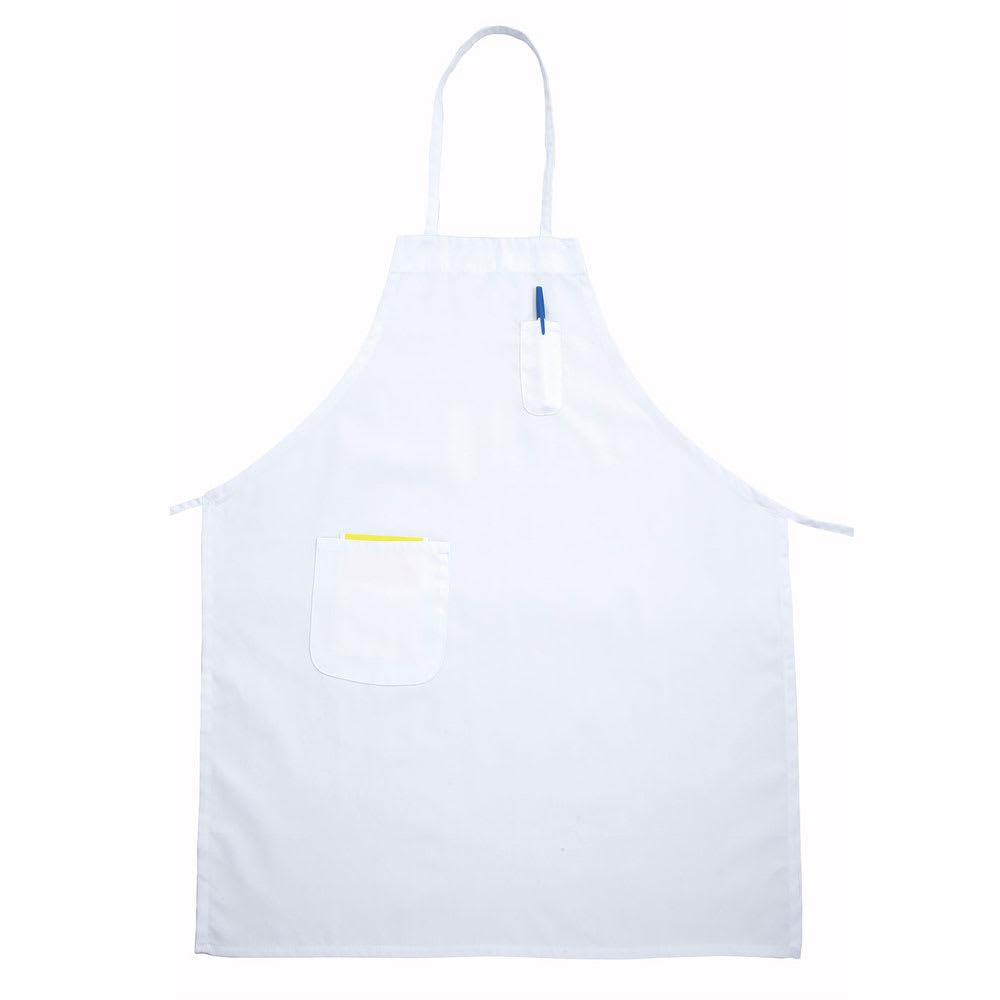 """Winco BAPWH Bib Apron w/ Pocket, 31 x 26"""", White"""