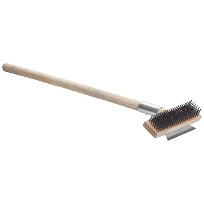 "Winco BR-27 27"" Pizza Oven Brush w/ Wire Bristles & Scraper, Wood Handle"