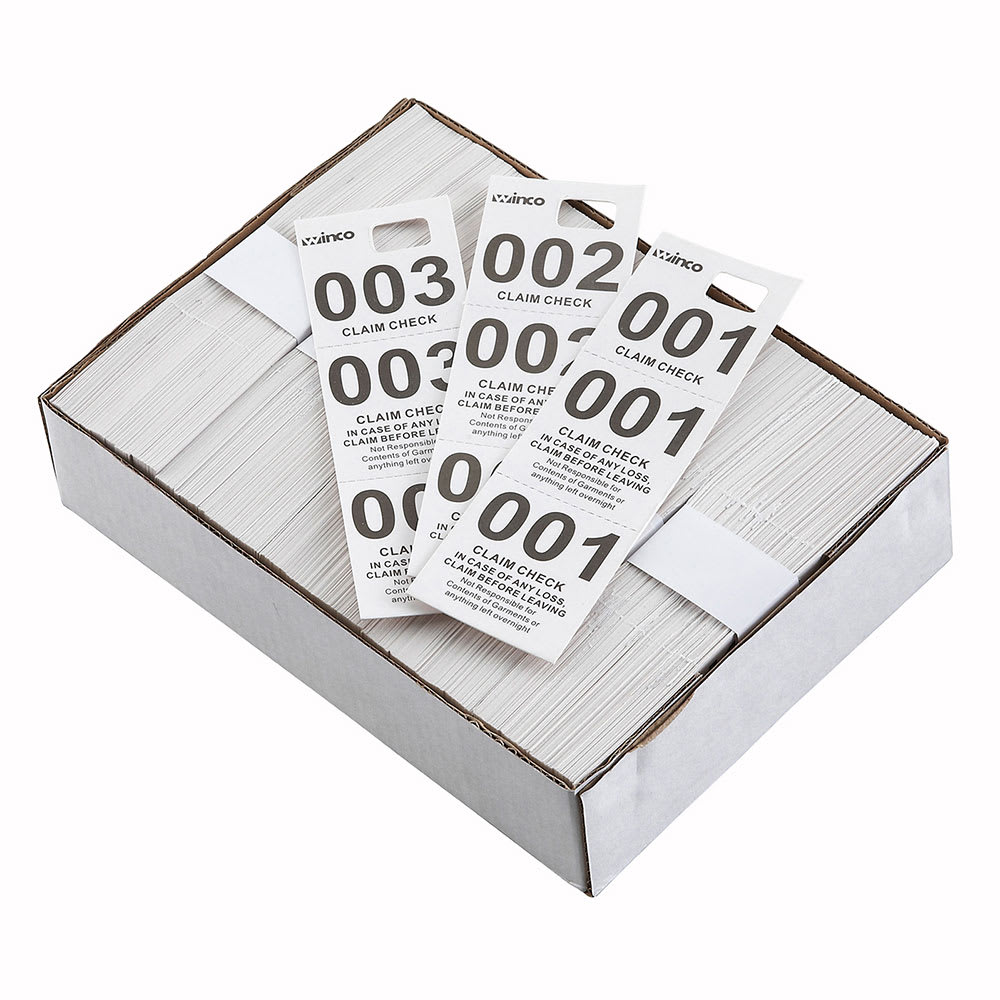 Winco CCK-5WT Coat Check, White (500 pieces per box)