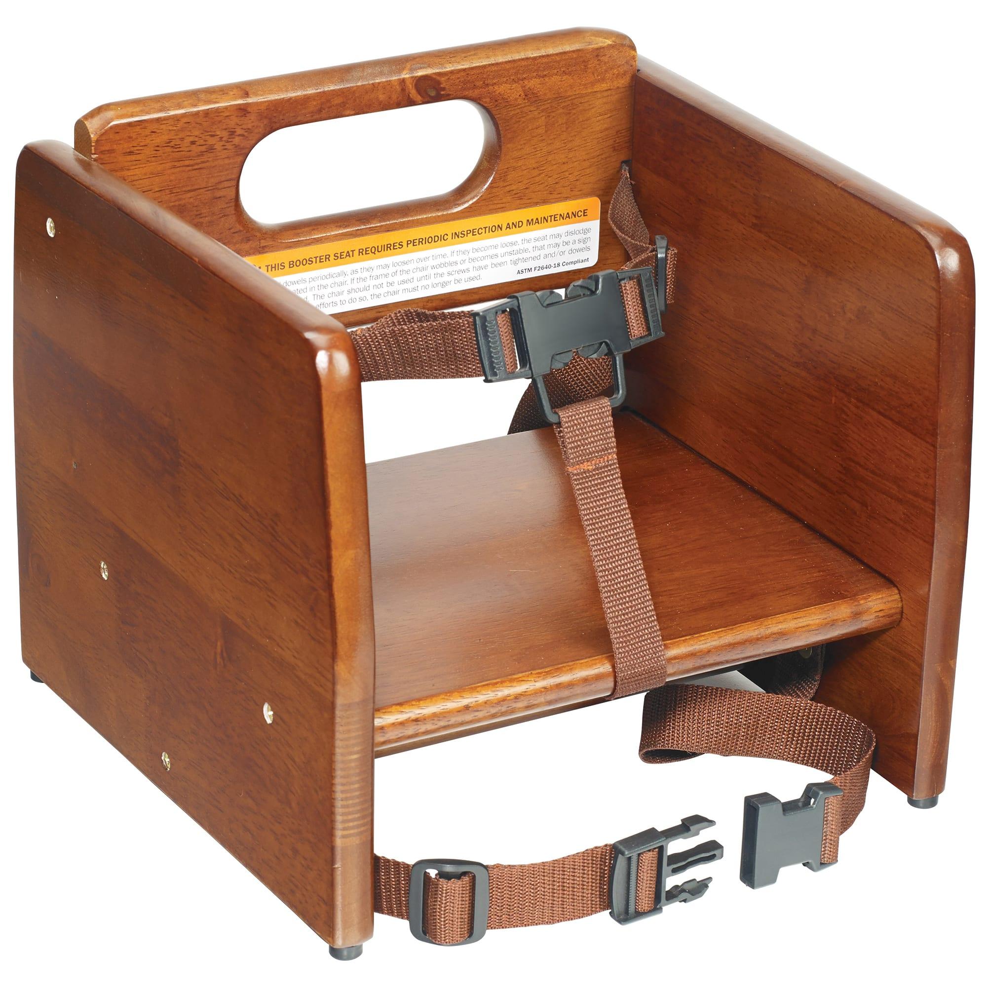 Winco CHB-704 Single-Height Booster Seat w/ Waist & Chair Strap - Wood, Walnut