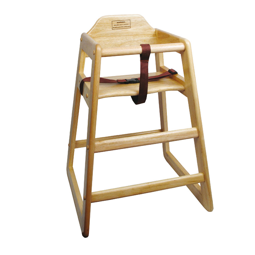 "Winco CHH-101 29.75"" Stackable High Chair w/ Waist Strap - Wood, Natural"