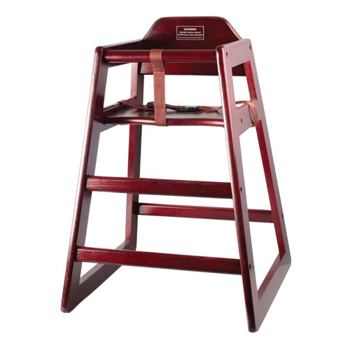 "Winco CHH-103A 29.75"" Stackable High Chair w/ Waist Strap - Wood, Mahogany"