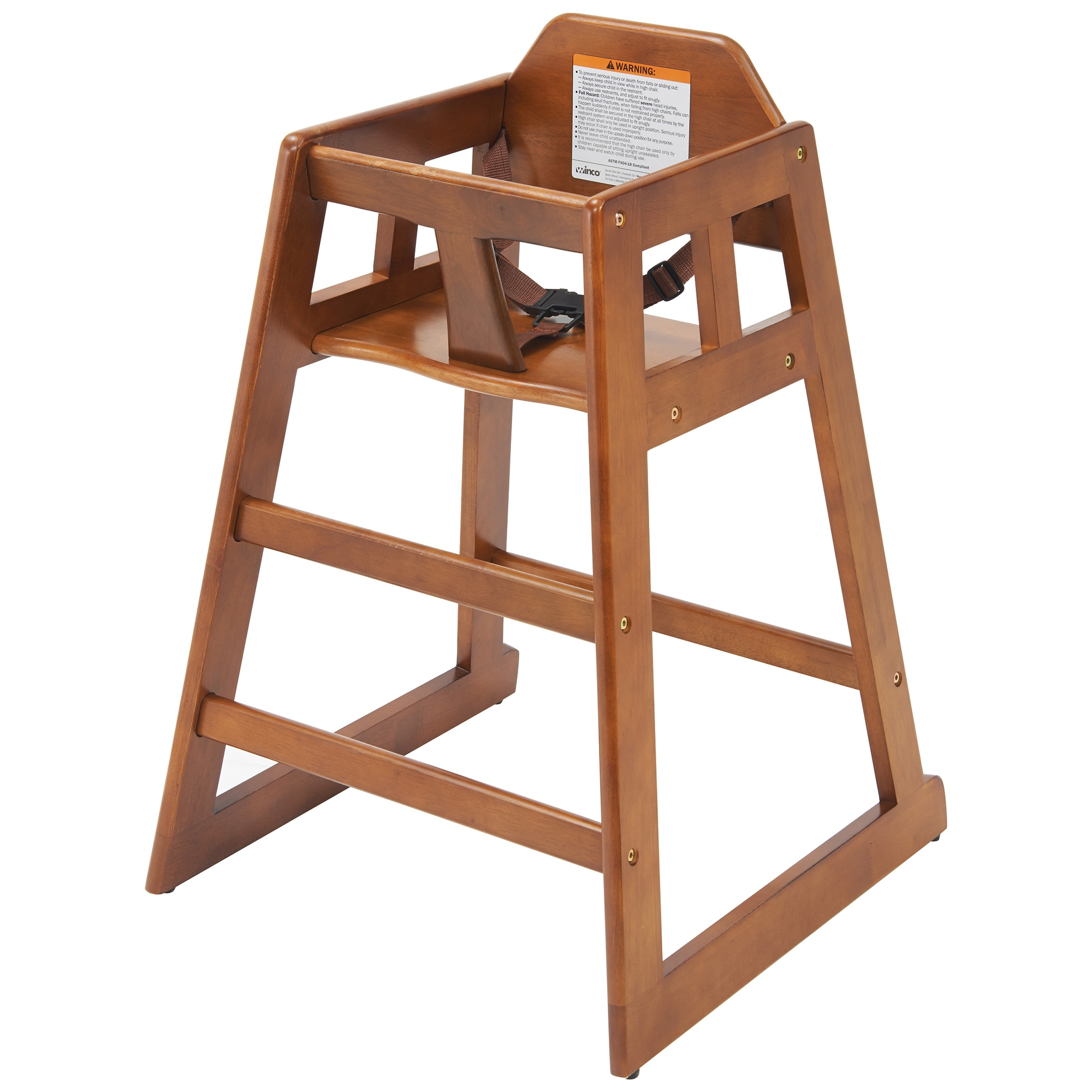 "Winco CHH-104A 29.75"" Stackable High Chair w/ Waist Strap - Wood, Walnut"