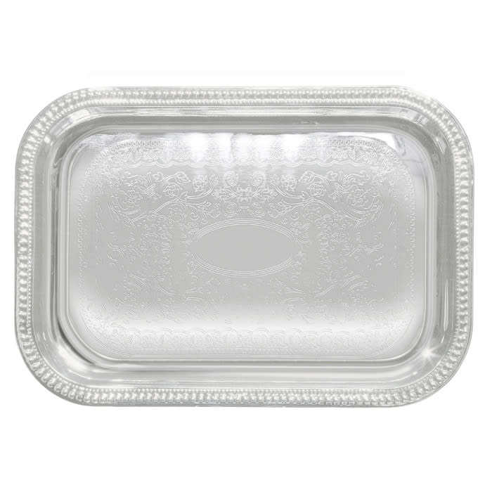 """Winco CMT-1812 Oblong Serving Tray, Chrome-Plated, Gadroon Edge w/ Engraving, 18 x 12.5"""""""